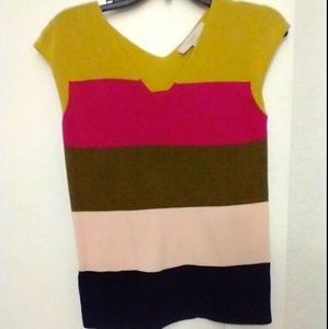 AT LOFT color block knit cap sleeve v neck top